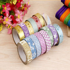 10x DIY Self Adhesive Glitter Washi Masking Tape Sticker Craft Decor 15mm×3m
