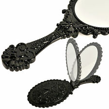 Vintage Antique Style Oval Round Black Hand Held Vanity Mirror Folding Standing