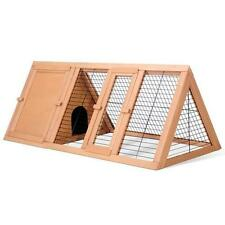 Pet Rabbit Guinea Pig Chicken Triangle Fir Wood Lockable Cozy Cage Hutch House