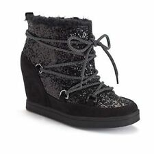 Women's Juicy Couture MAREEN Lace-Up Wedge Sport Ankle Boots Black Size 10 $89