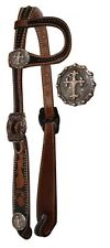 Showman One Ear Leather Headstall w/ Celtic Cross Conchos!! NEW HORSE TACK!!