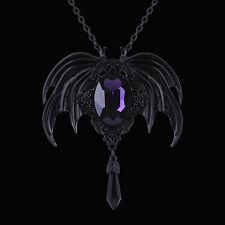 Restyle VESPERTILIO Violet Matte Black Ciondolo. BAT Wings. Viola Sfaccettato Pietra