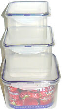 Clip and Lock Plastic Food Container Set of 3