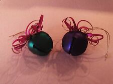 Lot/2 Large Metal Jingle Bell Ornaments -Green & Purple with Pink Ribbon