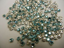 350 swarovski rose montees,12ss aquamarine/sterling plate finish
