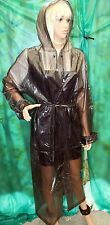 shiny glass black c thro pvc vinyl long raincoat hooded mackintosh tv fetish Lge
