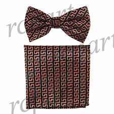 Men's Pre-tied Bow Tie & hankie set patterned black pink wedding party prom