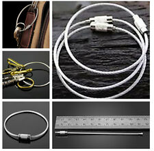 Lot of 3 Stainless Steel Wire keychain Cable Key Ring Twist Barrel High Quality