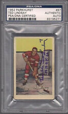 TERRIBLE TED LINDSAY SIGNED PARKHURST 1952 RED WINGS CARD #87 PSA/DNA Auto