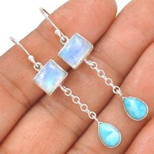 Moonstone & Larimar - Dominican Republic 925 Silver Earrings Jewelry SE129663