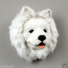 (2) AMERICAN ESKIMO DOG MAGNETS! Very realistic collectible fur refrig. Magnets.