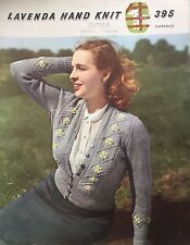 1940's Lavenda Tyrolean Knitting Pattern Women's Daisy Flower Cardigan Rare COPY