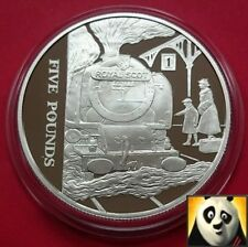 2004 ALDERNEY £5 POUND ROYAL SCOT RAILWAY ANNIVERSARY SILVER PROOF COIN