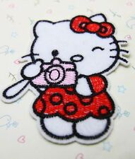 1 Pcs camera Hello Kitty sewing notions patch iron on embroidered appliques