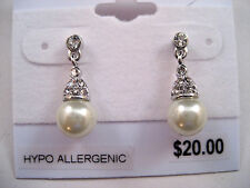 Charter Club Silver Tone Drop Dangle Stud Earrings White Pearl Pave Crystal New