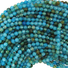 "4mm faceted blue crab fire agate round beads 15"" strand"