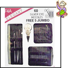 Eye Needles Sewing 60pcs Pack Hand Sew Threading Upholstery Silver Repair Kit