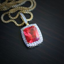 Hip Hop Ruby Red Charm Pendant And Chain Necklace