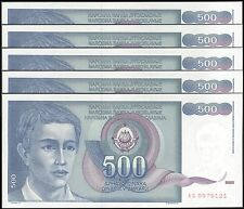 TWN - YUGOSLAVIA 106 - 500 D. 1/3/1990 UNC AS Dealers x 5 - FREE SHIPPING €150+