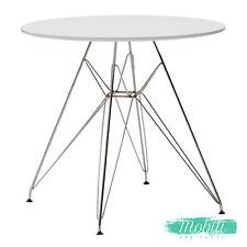 Tavolo Moderno in MDF Bianco e Gambe in Ferro Rotondo - SPEDIZIONE GRATUITA