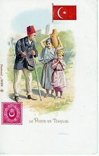 TURQUIE TURKEY AROUND 1905  OLD STAMP  PRINTED  ON  COLOR  POSTCARD