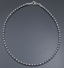 """Marilyn Platero Sterling Silver Navajo Pearl Necklace 4mm Plain & Flute 18"""""""
