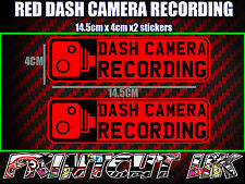 DASH CAMERA RECORDING CAR CAM STICKERS X2 decal dvr car van bike truck bus RED