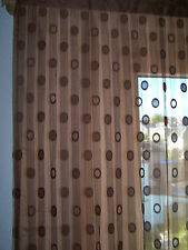 Vorhang Schal Gardine Tunneld. Voile + Fransen H x B 145 x 90 braun tolle Optik