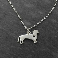 Dachshund Dog Necklace - 925 Sterling Silver - Cutout Heart Pendant Dogs Pet NEW