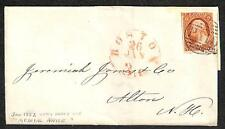 SCOTT #10 STAMP ON FOLDED COVER / LETTER BOSTON PAID CANCEL MEDICAL 1852