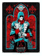 RARE ASSASSINS CREED UNITY POSTER SIGNED BY ARTISTS TONY MOORE & ANGRY BLUE SDCC