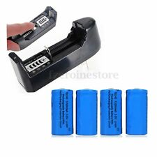 4PCS 16340 CR123A 3.7V 1200mAh Li-ion Rechargeable Battery With Smart Charger