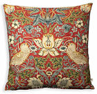 William Morris Fabric Cushion Cover Strawberry Thief Red Green Vintage Pillow