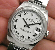 NEW MIDSIZE SS ROLEX DATEJUST WHITE ROMAN DIAL 178240 OYSTER BRACELET IN STOCK!