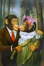 """Art Repro oil painting:""""Monkey portraits In canvas"""" 24x36"""""""