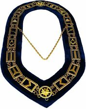 MASONIC REGALIA MASTER MASON BLUE LODGE GOLDEN METAL CHAIN COLLAR ))))))))))))