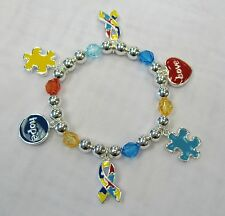 Autism Awareness Puzzle Charm Bracelet Hope Love # 6291 New With Gift Box