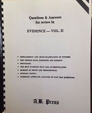 Questions & Answers for Evidence Vol.2 by A.B. Press  hearsay relevancy new