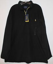 Polo Ralph Lauren Big and Tall Mens Black 1/2 Zip Pullover Fleece Jacket NWT 2XB