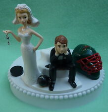 Wedding Cake Topper Minnesota Wild Unique Hockey Key Themed Groom's Top Bride