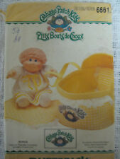 Vintage Butterick 6661 CABBAGE PATCH KIDS DOLL BED CARRIER Sewing Pattern