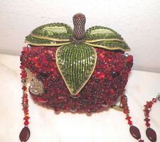 MARY FRANCES BEADED RED APPLE PURSE
