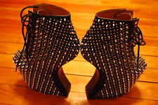 Women's Jeffrey Campbell Spiked Black Leather High Wedge Shoes (6)