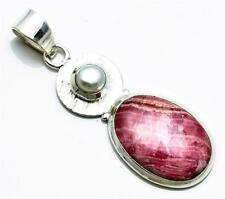 Natural Rhodochrosite, Pearl Pendant Solid 925 Sterling Silver Jewelry IP22389