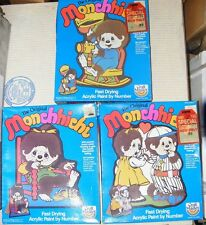 NEW RARE Set of 3 Vintage 1982 Original Monchhichi Paint By Number Sets RARE X