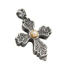 ST223 ~ Sterling Silver with Pearl Medieval Cross Pendant