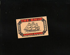 VINTAGE Matchbox Label DEEP RICH COLOR The Ship Tall Ship C1