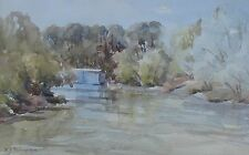 """RUPERT G THOMPSON WC AUSTRALIAN """"BOAT SHED BY THE LAKE"""" C 1980"""