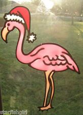 Christmas Flamingo Stained Glass Window Cling  Suncatcher