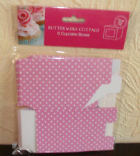 6 CUPCAKE BOXES Each box holds 1cake PINK with WHITE SPOTS